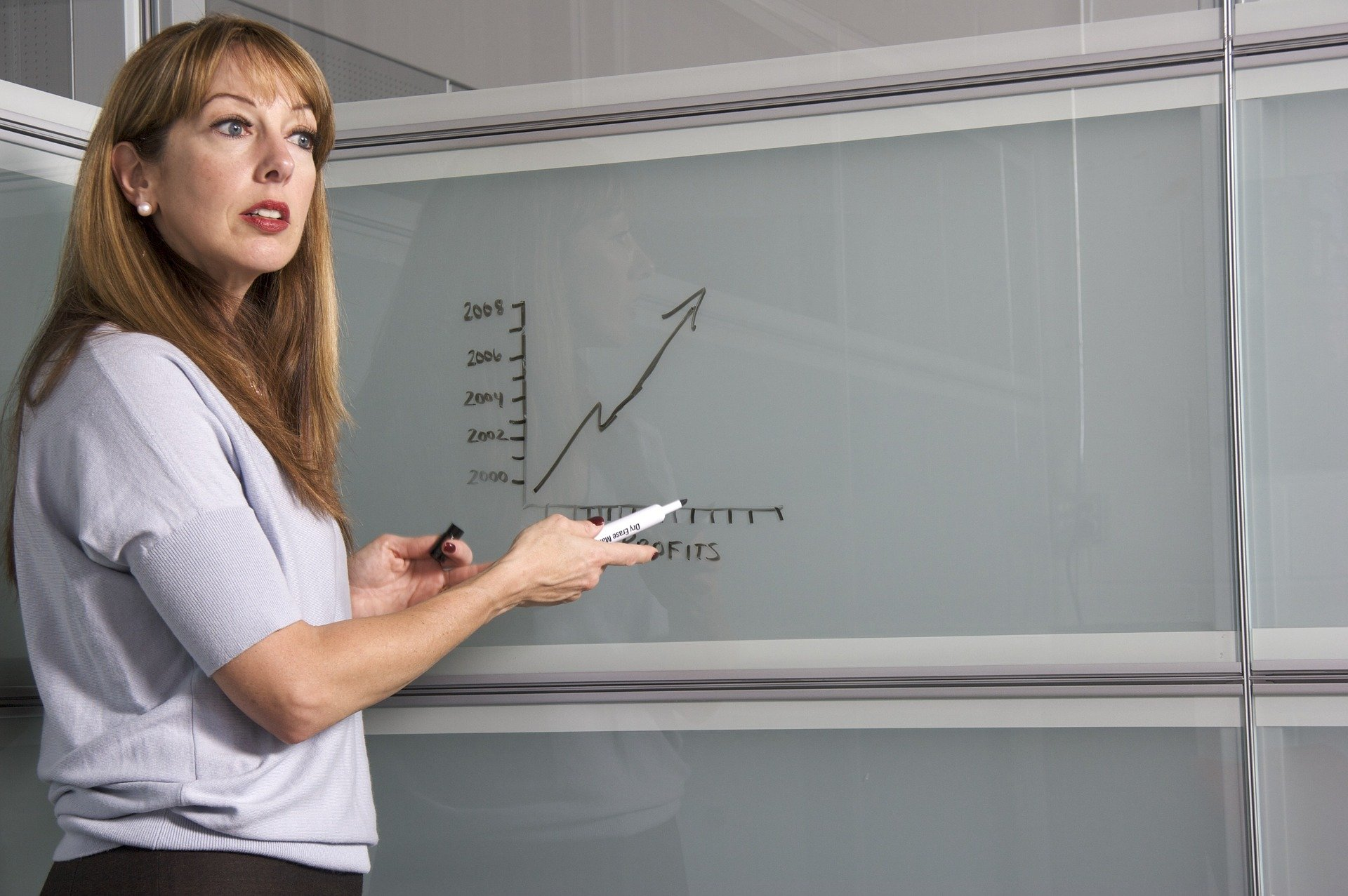 woman teacher standing at the white board